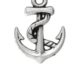 Set of 5 charms (C45) silver sailor sea anchor pendant charms