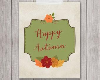 60% OFF SALE - Autumn Decor - 8x10 Happy Autumn, Fall Wall Art, Autumn Wreath, Home Decor, Happy Autumn, Printable Art, Digital