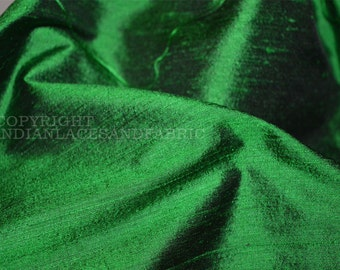 Green Iridescent Pure Dupioni Silk fabric by yard, Indian dupioni silk - raw silk fabric for wedding dresses, Clutches - Evening Bags