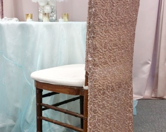 Rose Gold Full Sequin Chiavari Chair Cover, Special chiavari chair cover, bride and groom, quinceanera, chair covers