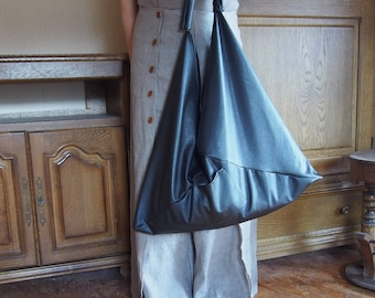 leatherette Bag, Japanese Bag, Triangle Tote Bag, Large Tote Bag, Gift Idea & Nara CH002