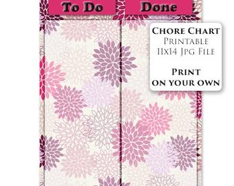 PRINTABLE Kids Chore Chart Reward Chart Flower Pretty Behavior Chart Purple Girls To Do Done List Task Chart DIY 11x14 Instant Download 2