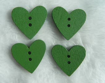 "4 Heart Buttons, 1"" Green Craft Button, 24mm Wooden 2-hole Heart Shaped Button, 24mm Sewing Button,"