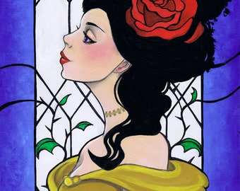 La Belle, Beauty and the Beast Inspired 11x4 Fine Art Print Leilani Joy