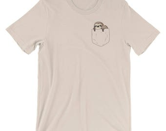 Sloth in a Pocket Tshirt -- Sloth Peeking from Pocket Shirt for Men and Women