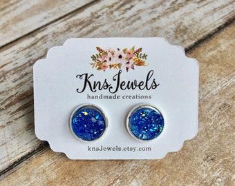 Blue Druzy Studs, Custom Earrings, Cute 10mm, Wedding, Bridal, Druzy Jewelry, Druzy Earrings