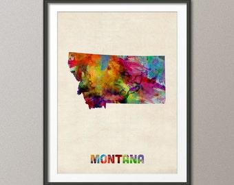 Montana Watercolor Map USA, Art Print (373)