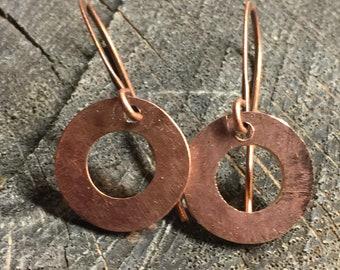 Copper rings hammered earrings