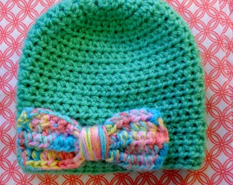 Mint Green Hat with Rainbow Print Bow