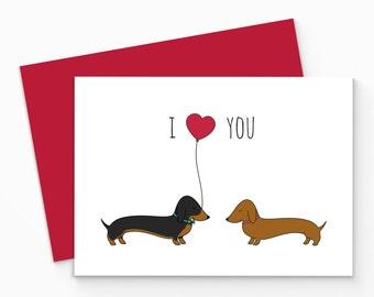 Printable Dachshund Valentines Card - Digital Sausage Dog Love Card - Printable Valentines Card - Dog Love Card - Dachshund Love Card