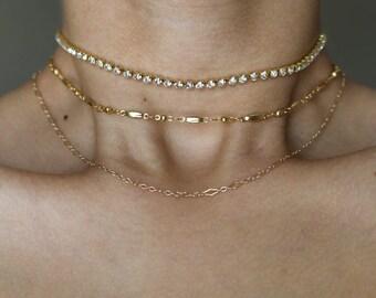 Queen B Diamond Choker ~ Rhinestone Choker ~ Gold Choker ~ Boho Jewelry ~ Layering Necklace