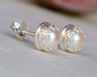 Crown Pearl Studs. Freshwater Pearl & Sterling Silver Crown Stud Earrings. Pearl Studs. White Pearl Earrings. Classic Pearl Studs. Wedding.