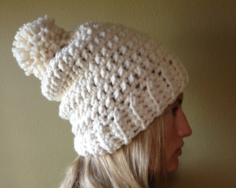 Crochet Slouch Hat in Cream