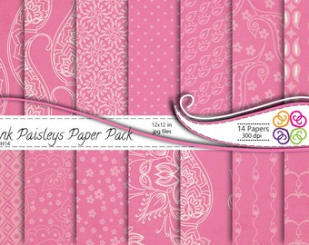 Pink Paisley Digital Paper Pack , Paisley Digital Scrapbooking Paper Pack  - Commercial Use ,Instant Download