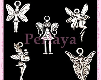 Mix of 50 silver fairy REF389 metal charms