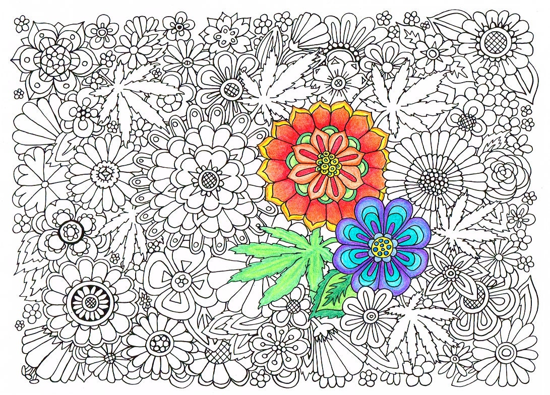 optical marijuana leaf coloring page from by chroniccraftsupplies ...
