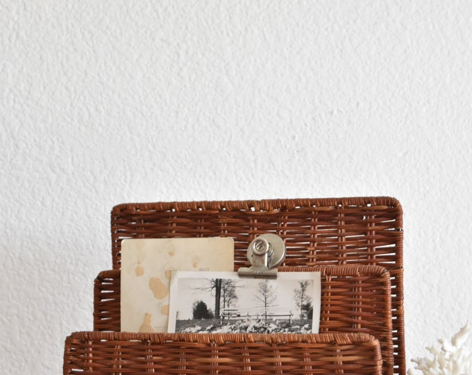 vintage woven wicker office file storage / note holder