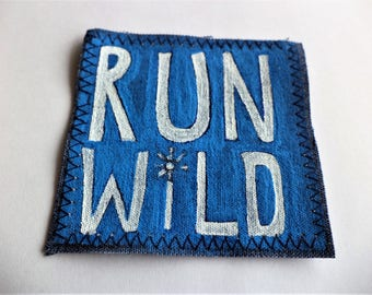 Jeans Patch, Backpack Accessory, Groovy Patch, Hippie Patch, Run Wild , Handpainted Patch, OOAK Handpainted Patch ,  Upcycled Denim