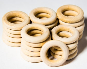 25pcs Natural Organic Unfinished Wooden Rings 25mm - Craft Supply