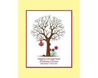 Baby Shower Thumbprint Tree, Guestbook Alternative, Baby Guestbook, Thumbprint Tree with Faux Matte, Baby Lady Bug Shower, Ladybug