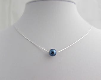Blue Pearl Necklace, Navy Blue Necklace, Bridesmaid Gifts, Girl Gifts, UK Seller, Simple Pearl Jewelry, Dainty Pearl Necklace, Blue Wedding