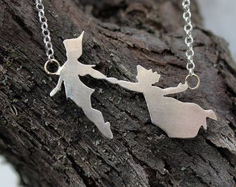 Silver Necklace Peter Pan and Wendy