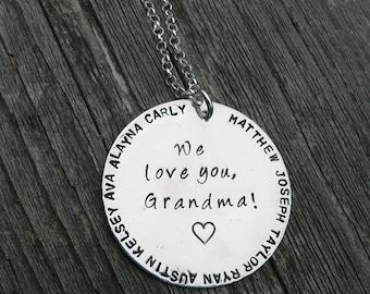 We Love You Grandma...Custom Sterling Necklace