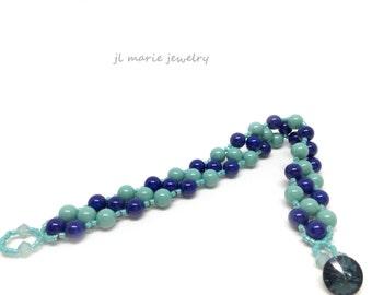 jade & lapis turqouise, navy swarovski pearl stripe bracelet . nautical  . gift idea . summery .