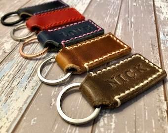 Personalized Leather Keychain   Custom Leather Keychain   Personalized Key fob   Keychain for Woman   Key Chain for Men   Boyfriend Gift