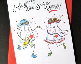 Cute Anniversary Card - Funny I Love You Card - We Go Together Like Salt and Pepper - Card for Husband, Wife