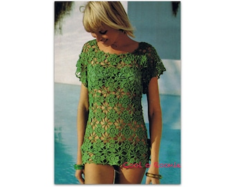 1970's Crochet Beach Cover up Pattern Women's Flower crochet top or beach wear instant Download on Cool o Roonie