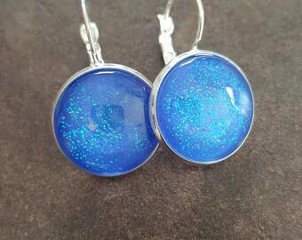 """""""Blue glitter"""" Cabochon earrings silver sleepers"""