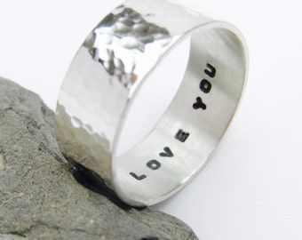 Hand stamped Sterling silver ring, personalised silver ring, hand stamped ring, message ring, custom ring, hammered silver, mens ring,