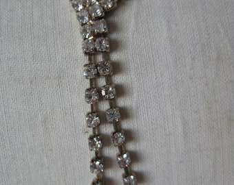 Clear Rhinestone Silver Necklace Vintage Dangle