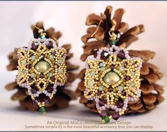 DIY Photo Tutorial Eng-ITA *Aura*Earrings,PDF Pattern 102 with Pearls,swarovski and seed beads,instructions,beadweaving
