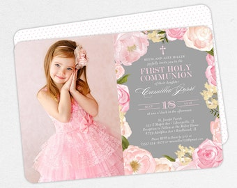 Photo First Communion Invitations, Pink First Communion Invitations, Floral First Communion invitations, Girl First Communion Invitations