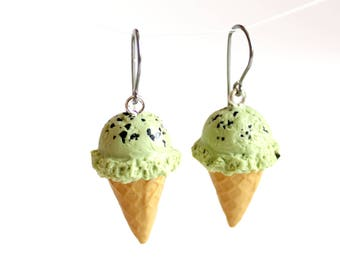 Ice Cream Earrings, Polymer Clay Food Jewelry, Mint Chocolate Chip Ice Cream Cone Jewelry, Miniature Food