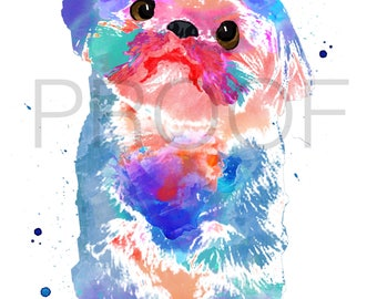shih tzu || Popcorn the Shih Tzu || shih tzu art || dog art || watercolor dog art || watercolor dog || shih tzu watercolor || toy dog