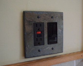 Decorative Slate Switch Plate Double Outlet Cover GFI Decora Rocker Switchplate Wall Light Rustic Log Cabin DGFI