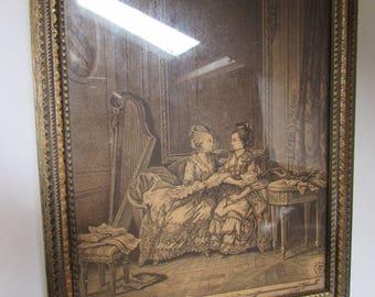 Vintage Romantic Mirror Sepia Framed Print 18th Century Ladies Painted Wood Frame Hand Mirror Vintage Vanity Item Ladies Accessories