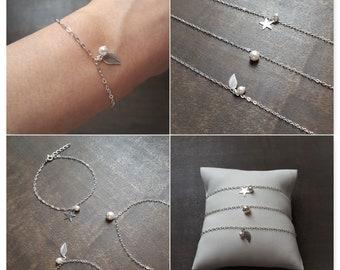 Eliya - Wedding, 925 sterling silver Bracelet, bridesmaid, Bridesmaid bracelets, silver Bracelet, Star, Leaf, Bridesmaids' Gifts