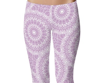 Lilac Leggings, Lavender Leggings, Purple and White Printed Yoga Pants, Yoga Leggings for Women