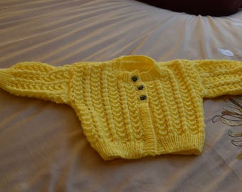 """Hand Knitted  Girls Cardigan / Sweater Lemon """" 20"""" / 22"""" Pretty Pattern Stitch 1 In Stock Age 9-12 months"""