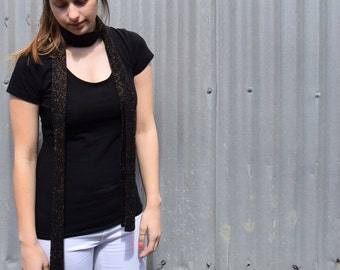 Skinny Scarf - Black wool with copper lurex