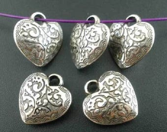5 Charms made of acrylic heart charms pendants