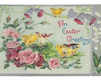 Easter Greeting, Vintage Postcard, Chicks, Roses, Bells, Lily of the Valley, Easter Postcard, Ephemera