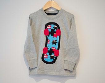 Size 5T, Boys Skateboard Shirt, Ninja Skater Tshirt, Black Red Blue Ninjas, Applique Skateboard Long Sleeve Gray Tee, Ready to Ship