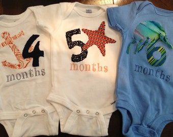 Nautical Month-by-Month Bodysuits (Months 4-6)