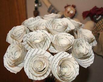Harry Potter Gift, Book Paper Flowers, Paper Flower Bouquet, Ragged Torn Edge, Baker's Dozen, Long Stem Flowers, Wedding Bouquet
