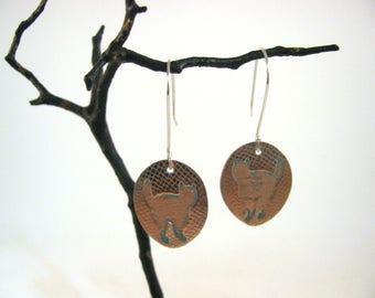 Copper Cat Earrings on Sterling Wires RKS529